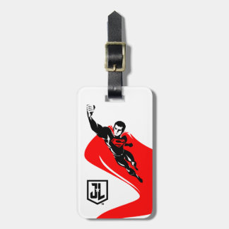 Justice League   Superman Flying Noir Pop Art Luggage Tag