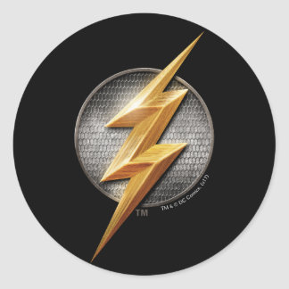 Justice League | The Flash Metallic Bolt Symbol Classic Round Sticker
