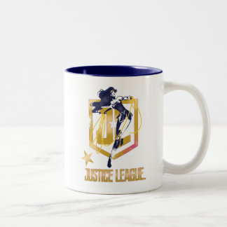 Justice League | Wonder Woman JL Logo Pop Art Two-Tone Coffee Mug