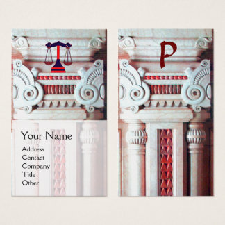 JUSTICE LEGAL OFFICE,ATTORNEY Monogram Red White Business Card