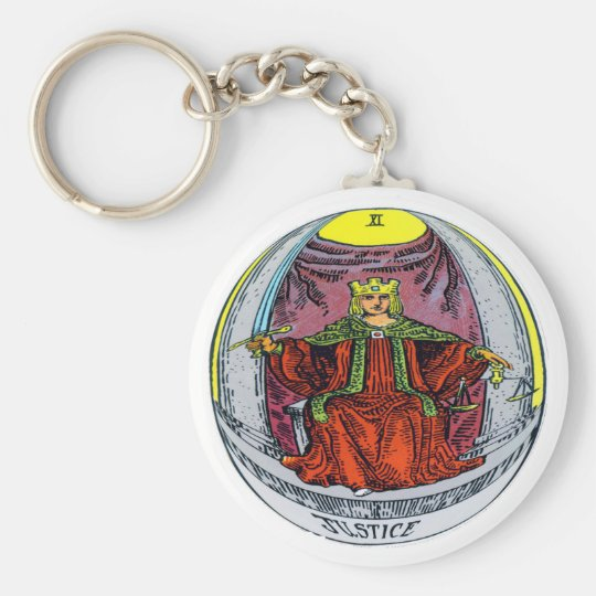 Justice Tarot Card Basic Round Button Key Ring
