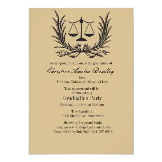 Justice Wreath Law School Graduation Invitation