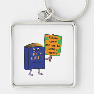 Justify bigotry Silver-Colored square key ring