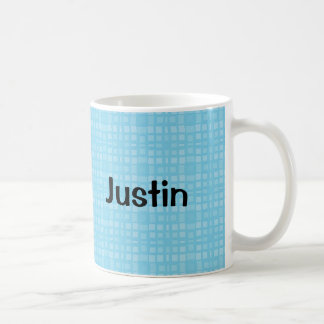 JUSTIN Aqua Squares Custom Name Gift Collection Coffee Mug