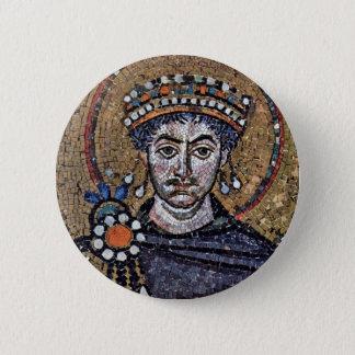 Justinian I, San Vitale (Ravenna) Choir Mosaics A 6 Cm Round Badge