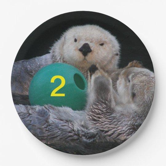 Juvenile Birthday Sea Otters Photo Paper Plate