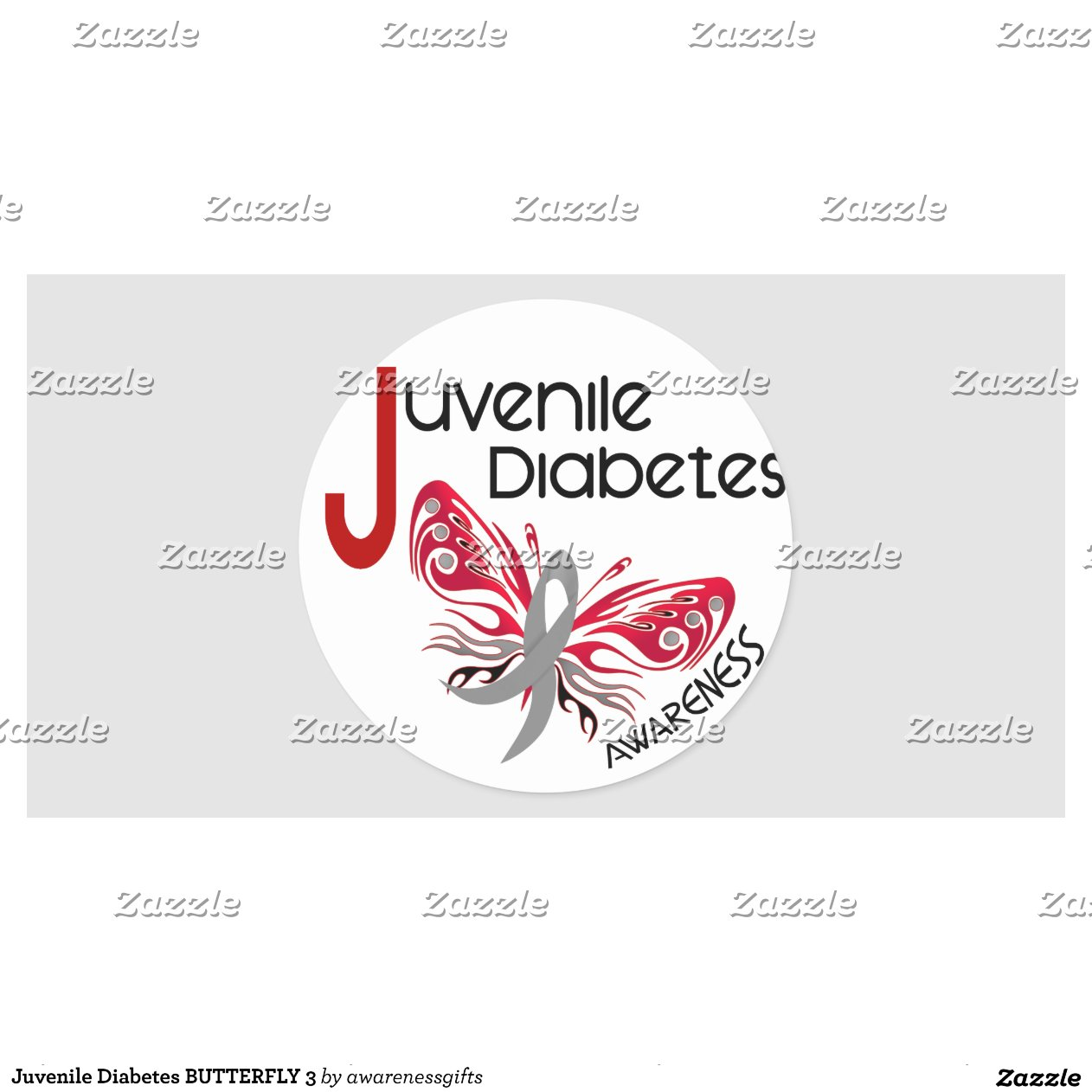 Juvenile diabetes butterfly 3 round sticker zazzle for Stickers juveniles