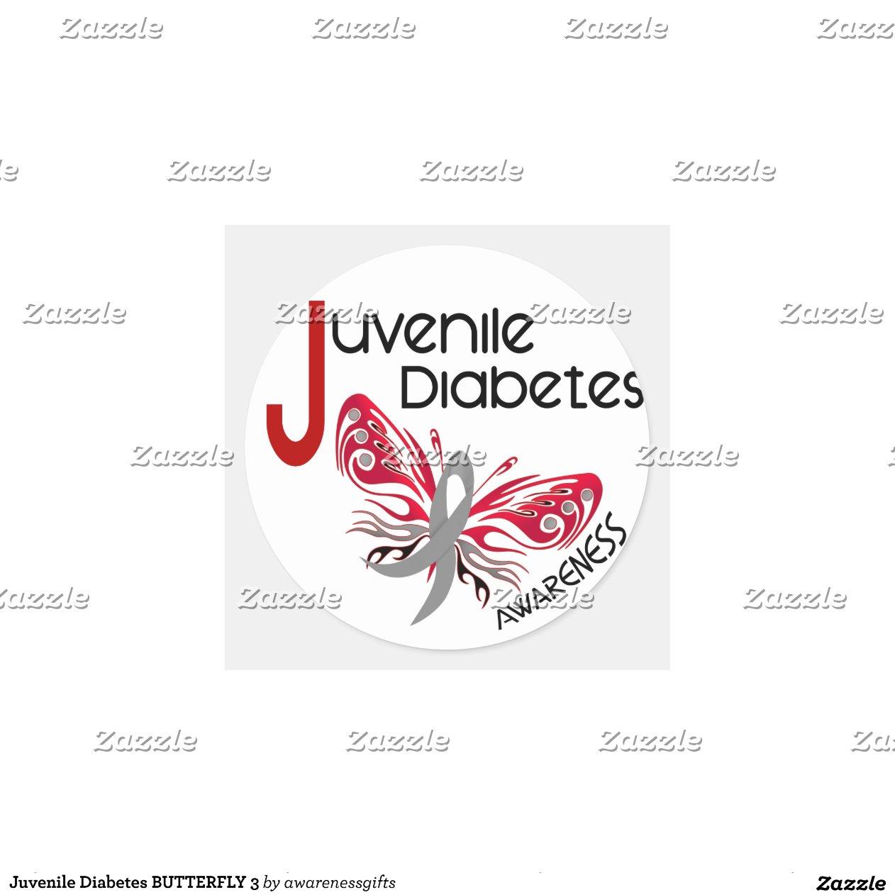 Juvenile diabetes butterfly 3 round sticker zazzle for Stickers juveniles