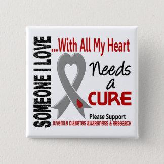 Juvenile Diabetes Needs A Cure 3 15 Cm Square Badge