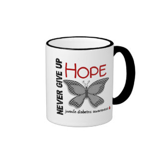 Juvenile Diabetes Never Give Up Hope Butterfly 4.1 Ringer Coffee Mug