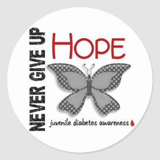 Juvenile Diabetes Never Give Up Hope Butterfly 4 1 Round Stickers