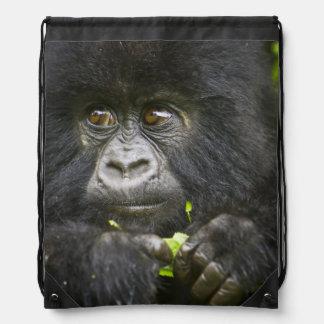 Juvenile Mountain Gorilla feeds on tender leaves 2 Drawstring Bag
