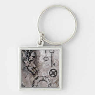 Juxtaposition II Silver-Colored Square Key Ring