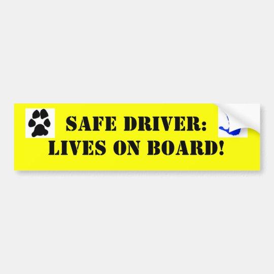 k0067988, dog-paw-print-black, Safe Driver: Liv... Bumper Sticker