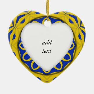 K128 Yellow & Blue Kali Ceramic Heart Decoration