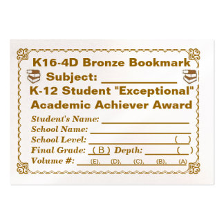 K16-4D Bronze Bookmark -- All Subjects -- 100ct Pack Of Chubby Business Cards