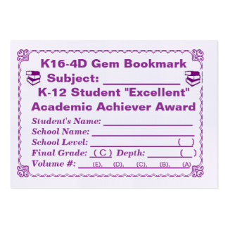 K16-4D Gem Bookmark -All Subjects- 100ct Pack Of Chubby Business Cards
