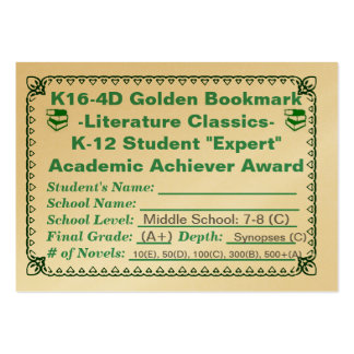 K16-4D Golden Bookmark -Literature Classics- 100ct Pack Of Chubby Business Cards