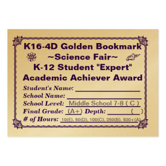 K16-4D Golden Bookmark ~Science Fair~ Jr. Hi 100ct Pack Of Chubby Business Cards