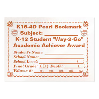 K16-4D Pearl Bookmark -All Subjects- 100ct Pack Of Chubby Business Cards