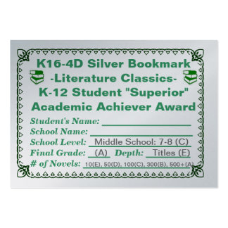 K16-4D Silver Bookmark -Literature Classics- 100ct Pack Of Chubby Business Cards