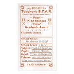 K16-4D Teacher's ~Pearl~ S.T.A.R. Card 100ct