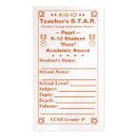 K16-4D Teacher's ~Pearl~ S.T.A.R. Card 100ct Business Card Templates