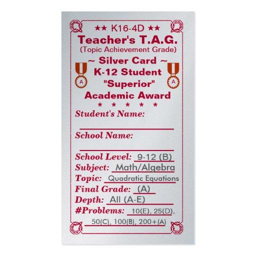 K16-4D Teacher's T.A.G. ~Silver Card~ HS 100ct