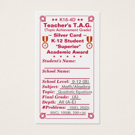 K16-4D Teacher's T.A.G. ~Silver Card~ HS 100ct Business Card
