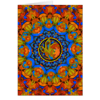 K185 Autumn on Blue Abstract Greeting Card