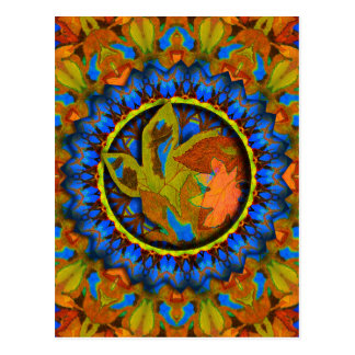 K185 Autumn on Blue Abstract Postcard