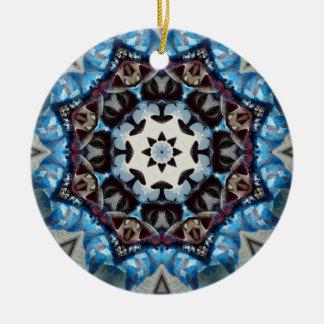 K186 Fancy Blue Octagon Round Ceramic Decoration