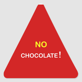 k3 - Food Alert ~ NO CHOCOLATE. Triangle Sticker