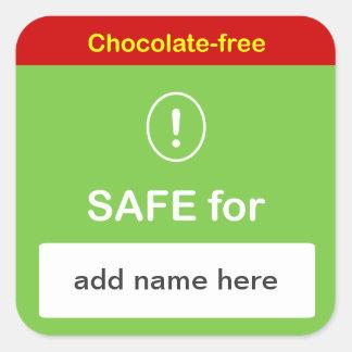 k4 - SAFE FOOD LABEL w/ Custom Name ~NO CHOCOLATE. Square Sticker