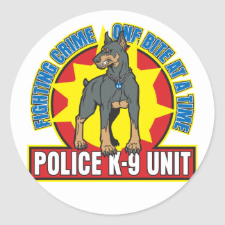 K9 Doberman Bite Classic Round Sticker