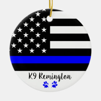 K9 Officer - Thin Blue Line - Police Dog Christmas Ornament