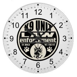 K9 Unit In Dogs We Trust (Black) Wall Clock