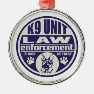 K9 Unit In Dogs We Trust Blue Christmas Ornament