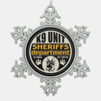 K9 Unit Sheriff's Department Snowflake Pewter Christmas Ornament
