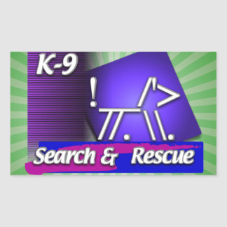 K-9  SR SEARCH & RESCUE ASCII DOG RECTANGULAR STICKER