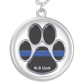 K-9 Unit Thin Blue Line Silver Plated Necklace