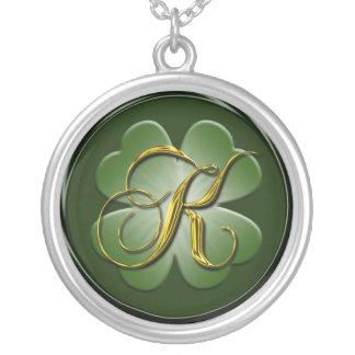K Black Green Gold Monogram Initial Pendant K