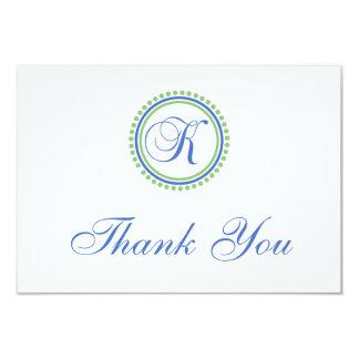 K Dot Circle Monogam Thank You Cards (Blue / Mint) Announcements