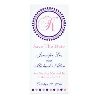 "K Dot Circle Monogram Save The Date (Blue / Pink) 4"" X 9.25"" Invitation Card"