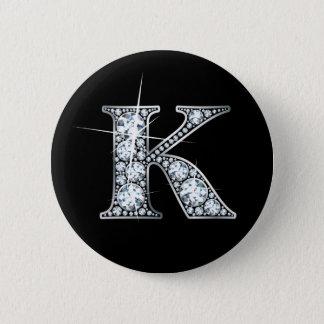 """""""K"""" Faux-""""Diamond Bling"""" Button"""