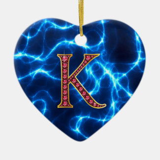 "K Faux-""Ruby"" Monogram  With Lightening Christmas Ornament"