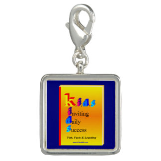 K.I.D.S Success Square Charm, Silver Plated