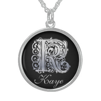 """K Initial and Name """"Silver Lace on Black"""" Necklace Personalized Necklace"""
