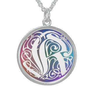 "K Initial Monogram ""Blue Gothic Whimsy"" Necklace Custom Jewelry"
