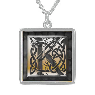 """K Initial Monogram """"Celtic Black Stone"""" Necklaces Pendants"""